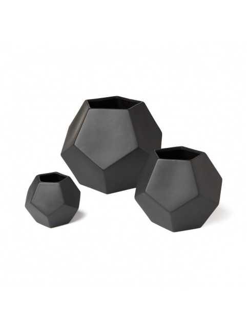 "DWELLSTUDIO FACETED BLACK VASE - 4"" x 4.5"" H - Lulu and Georgia"