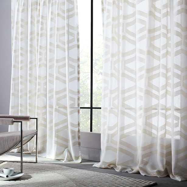 Semi-Sheer Clipped Jacquard Curtain - West Elm