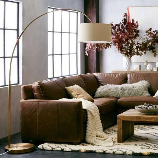 Overarching Linen Shade Floor Lamp- Antique Brass - West Elm