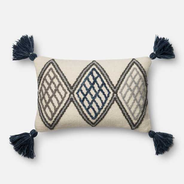 """DSET Pillow BLUE / IVORY 13"""" X 21"""" Cover w/Down - Magnolia Home by Joana Gaines Crafted by Loloi Rugs"""