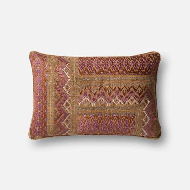 """DSET Pillow PINK / RUST 13"""" X 21"""" Cover w/ Poly fill - Loma Threads"""
