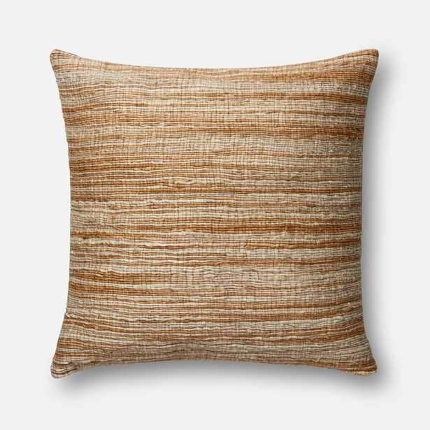"""DSET Pillow CAMEL / BEIGE 22"""" X 22"""" Cover w/Down - Loma Threads"""
