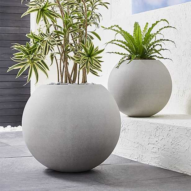 Sphere Light Grey Planter, Large - Crate and Barrel