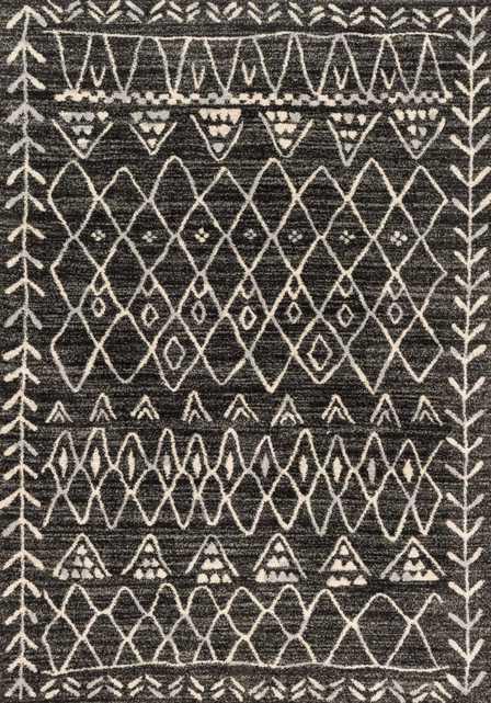 """EMORY Rug BLACK / IVORY 7'-7"""" X 10'-6"""" - Loma Threads"""