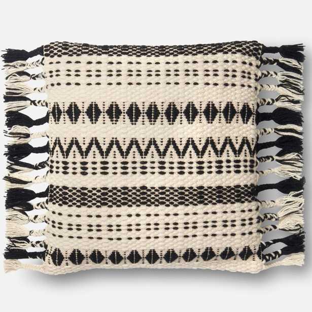 "PILLOWS Pillow BLACK / WHITE 22"" X 22"" Cover w/Poly - Loma Threads"