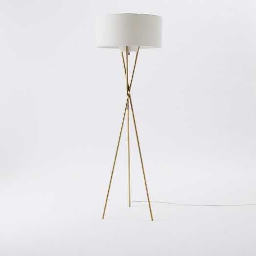 Mid-Century Tripod Floor Lamp, Antique Bronze/Natural Linen - West Elm