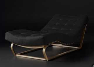 HEATH BOX FABRIC CHAISE - ITALIAN BASKET WEAVE, Black, Brushed Brass - RH Modern