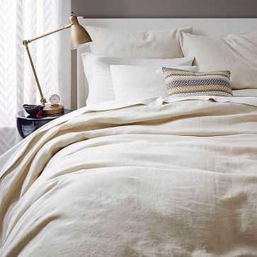 Belgian Linen Duvet Cover, Full/Queen, Natural Flax - West Elm