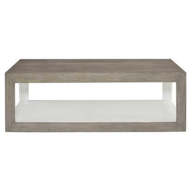Marqua Coastal Rustic Grey Wood White Interior Coffee Table - Kathy Kuo Home