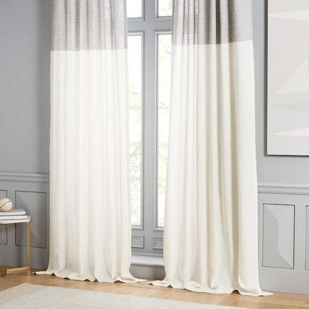 "Belgian Linen Contrast Stripe Curtain, Stone White/Slate, 48""X84"" - West Elm"