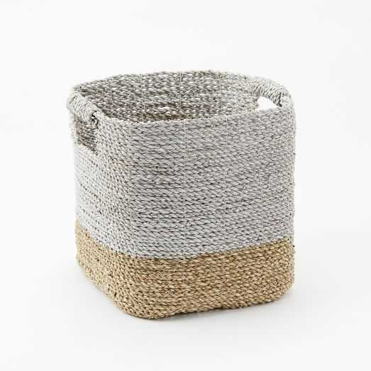 Two-Tone Woven Baskets - Natural/White Storage Basket - West Elm
