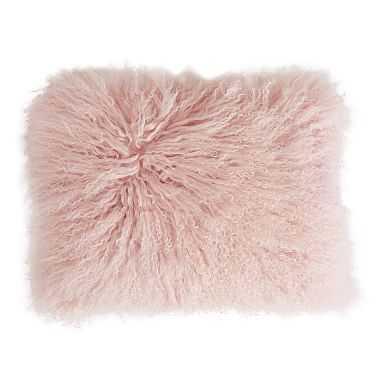 "Mongolian Fur Pillow Cover, 12""x16"", Quartz Blush - Pottery Barn Teen"
