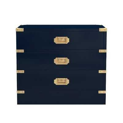Campaign Side Table, Navy Lacquer, Antique Brass - Williams Sonoma