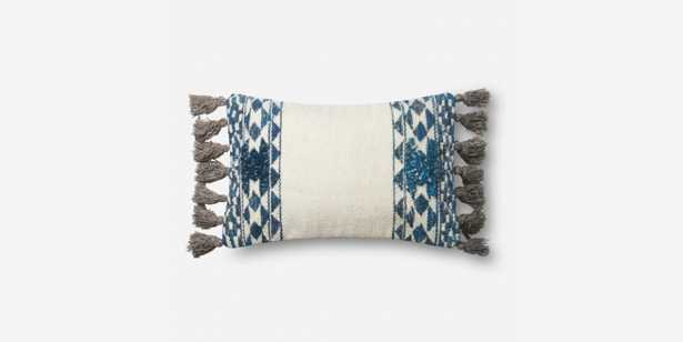 """P0617 BLUE / IVORY Pillow - 13"""" x 21"""" - Poly Insert - Loma Threads"""