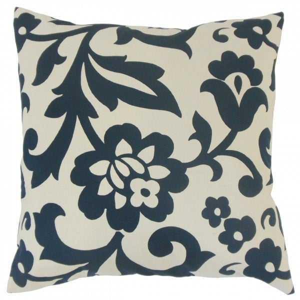 Fisseha Floral Pillow Indigo, with insert - Linen & Seam
