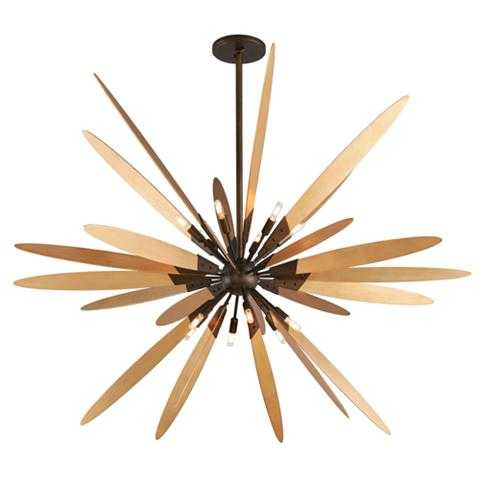 """Dragonfly 72"""" Wide Bronze with Satin Leaf Pendant Light - Lamps Plus"""