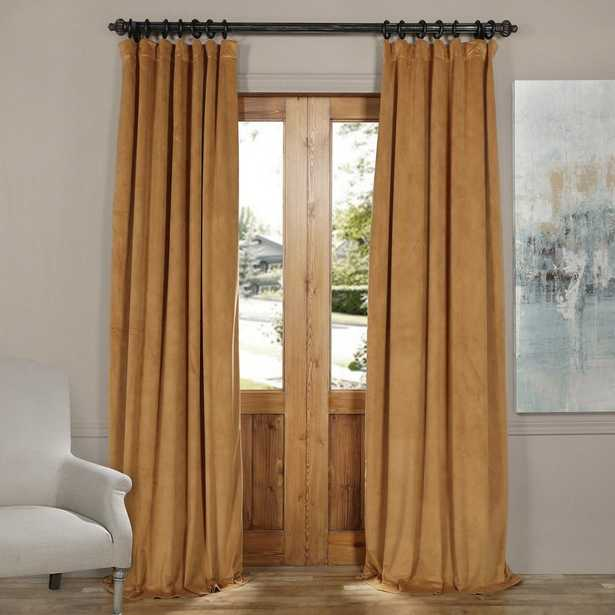 Exclusive Fabrics & Furnishings Blackout Signature Amber Gold Blackout Velvet Curtain - 50 in. W x 96 in. L (1 Panel) - Home Depot