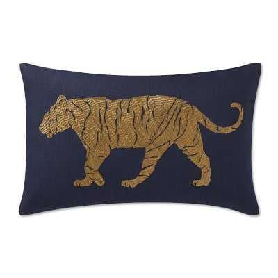 "Tiger Zardozi Lumbar Pillow, 14"" X 22"", Navy - Williams Sonoma"