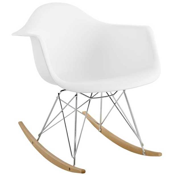 ROCKER PLASTIC LOUNGE CHAIR IN WHITE - Modway Furniture