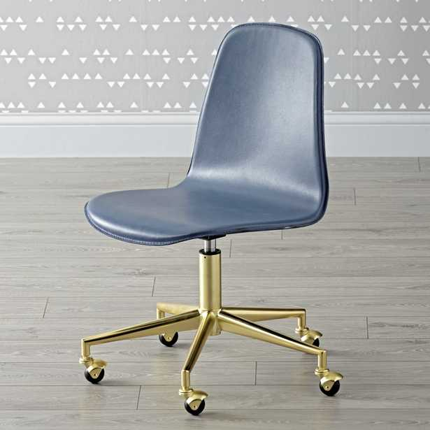 Kids Class Act Dark Blue and Gold Desk Chair - Crate and Barrel