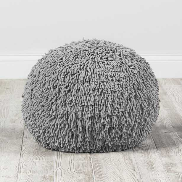 Grey Shaggy Pouf - Crate and Barrel