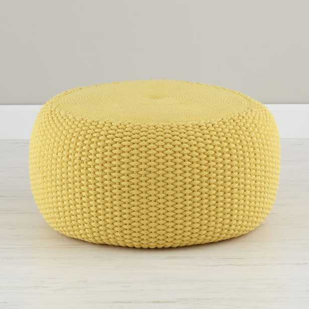 Yellow Braided Pouf - Crate and Barrel