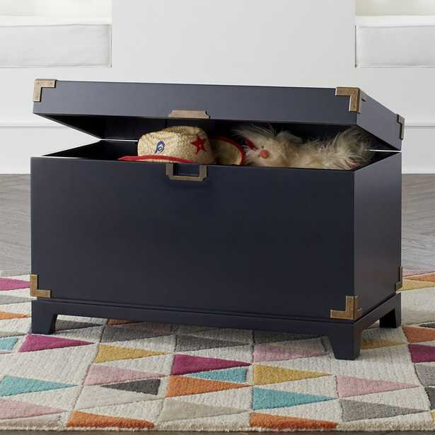 Navy Blue Campaign Toy Box - Crate and Barrel