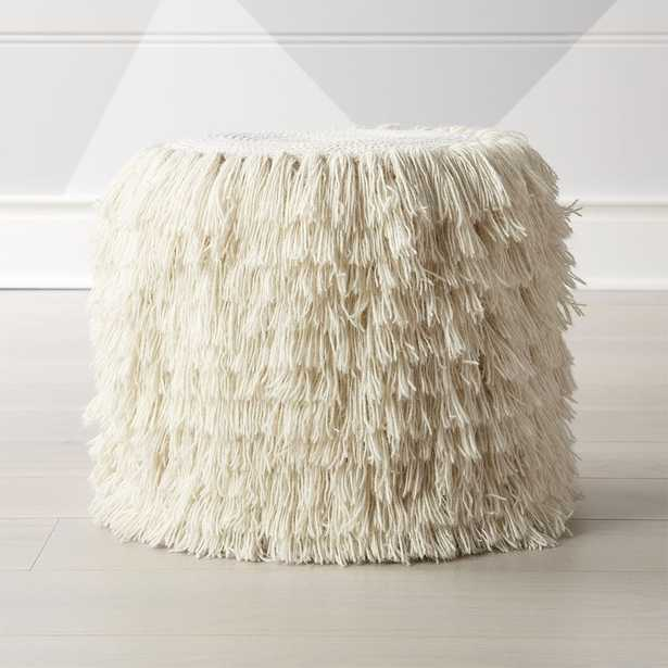 White Shag Pouf - Crate and Barrel