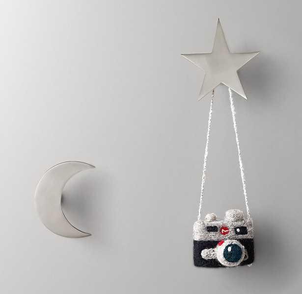 NIGHT SKY METAL WALL HOOKS (SET OF 2) - PEWTER - RH Baby & Child