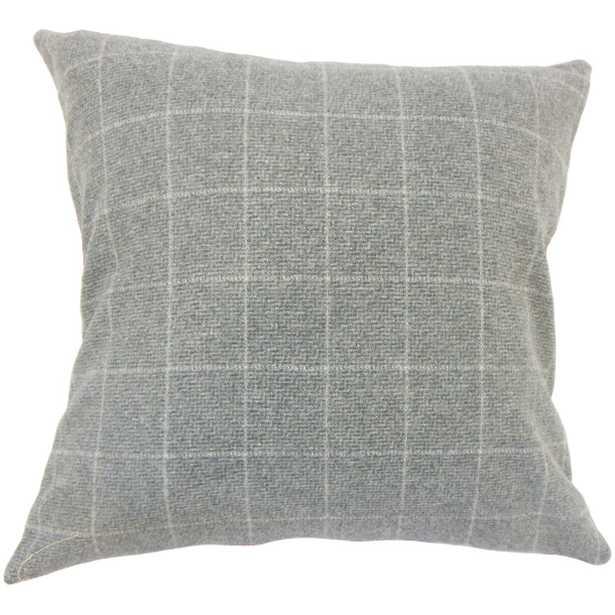 "Geovany Plaid Pillow Grey - 20"" x 20"" - Down Insert - Linen & Seam"