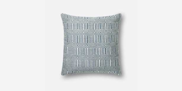"""P0339 BLUE / IVORY Pillow - 22"""" x 22"""" with Down insert - Loma Threads"""
