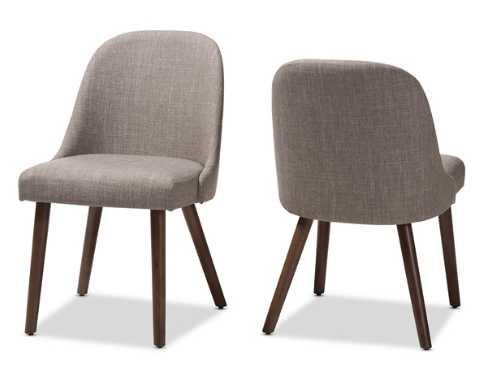 Cody Mid-Century Modern Light Grey Fabric Upholstered Walnut Finished Wood Dining Chair (Set of 2) - Lark Interiors