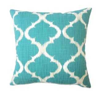 "Iara Ikat Pillow Teal Pillow - 22"" with down insert - Linen & Seam"