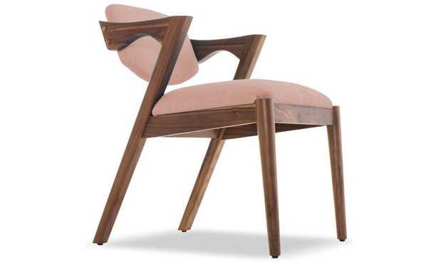 Pink Morgan Mid Century Modern Dining Chair - Prime Blush - Walnut - Joybird