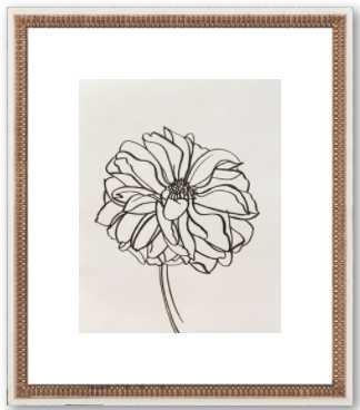 "Dahlia by Megan Williamson - 16x18""  Final Framed Size- Distressed cream double bead wood - Artfully Walls"