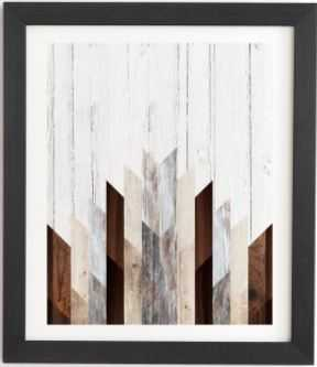 "GEO WOOD 3 Framed Wall Art -14""x16.5"" - Basic white frame - Wander Print Co."