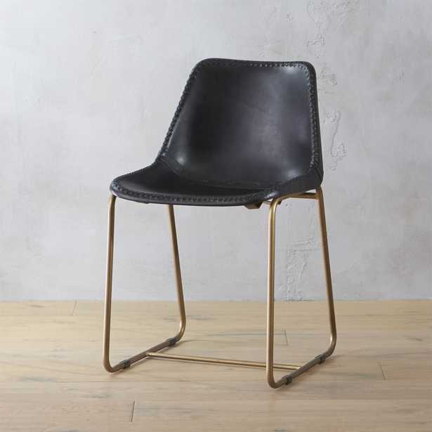 roadhouse black leather chair - CB2