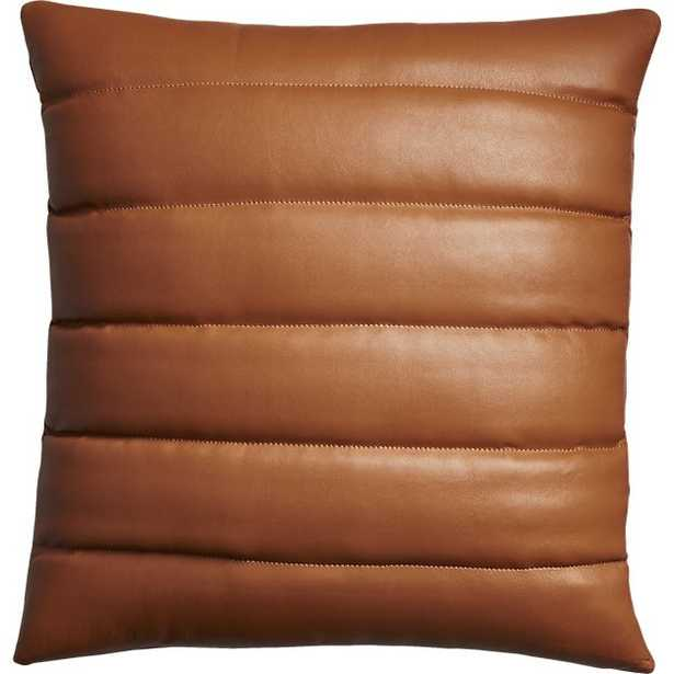"""18"""" Izzy saddle leather pillow with feather-down insert - CB2"""