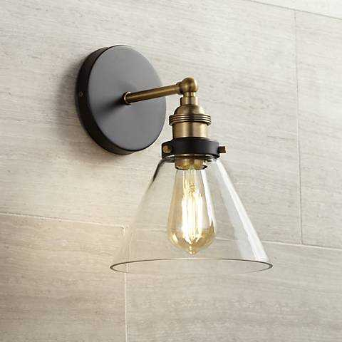 """Burke 10 3/4"""" High Black and Warm Brass LED Wall Sconce - Lamps Plus"""