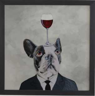 "Bulldog with wine glass - black frame artwork - 30""x30"" - Wander Print Co."