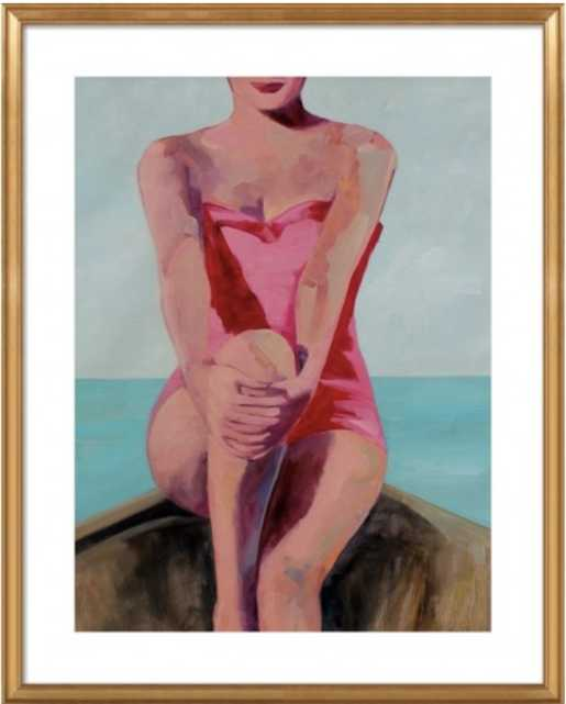 WOMAN IN A BOAT BY T.S. HARRIS FOR ARTFULLY WALLS - 18x22 - With Mat - Lulu and Georgia
