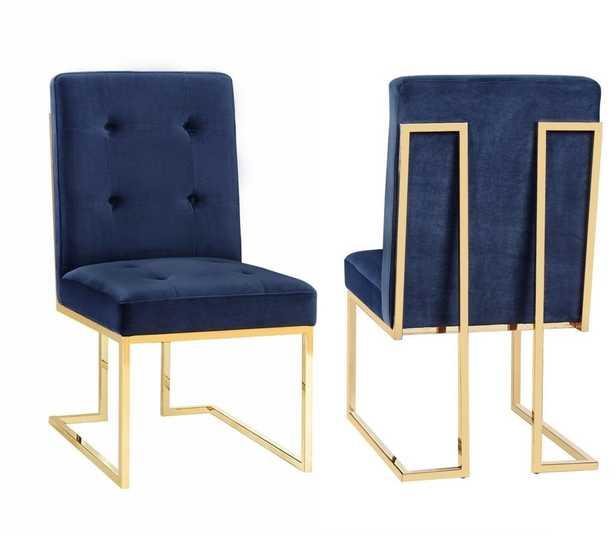 Evelyn Navy Velvet Chair (Set of 2) - Maren Home