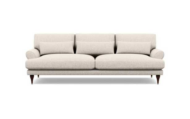 Maxwell Sofa in Wheat Fabric with Oiled Walnut with Brass Cap legs - Interior Define