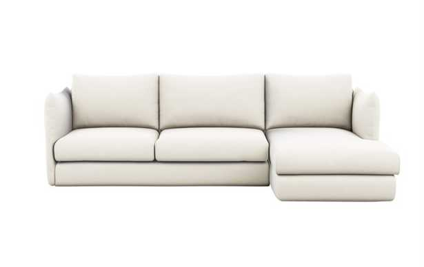 Harper Chaise Sectional in Ivory Fabric - Interior Define