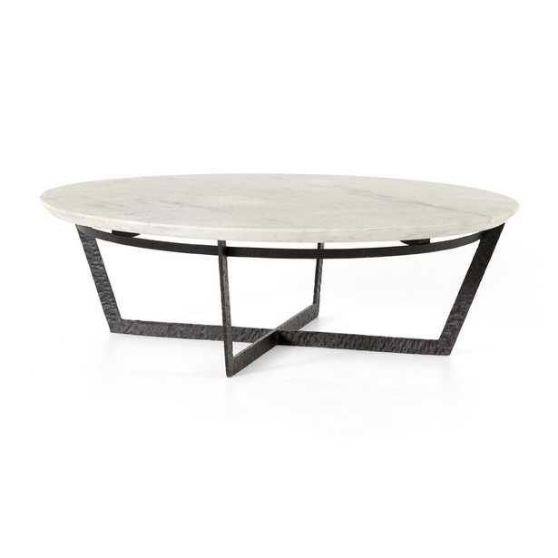 Verdad Round White Marble Coffee Table - Crate and Barrel