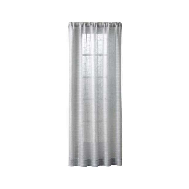 """Isabela Grey Grid Curtain Panel 50""""x96"""" - Crate and Barrel"""