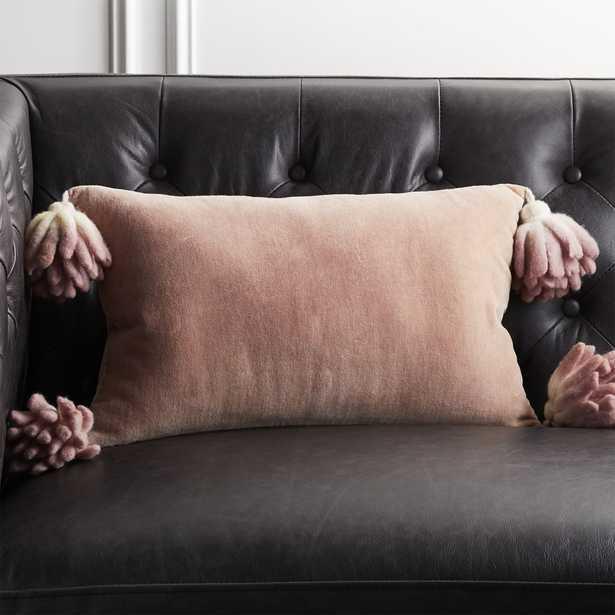 """18""""x12"""" Bia Tassel Mauve Velvet Pillow with Down-Alternative Insert - CB2"""