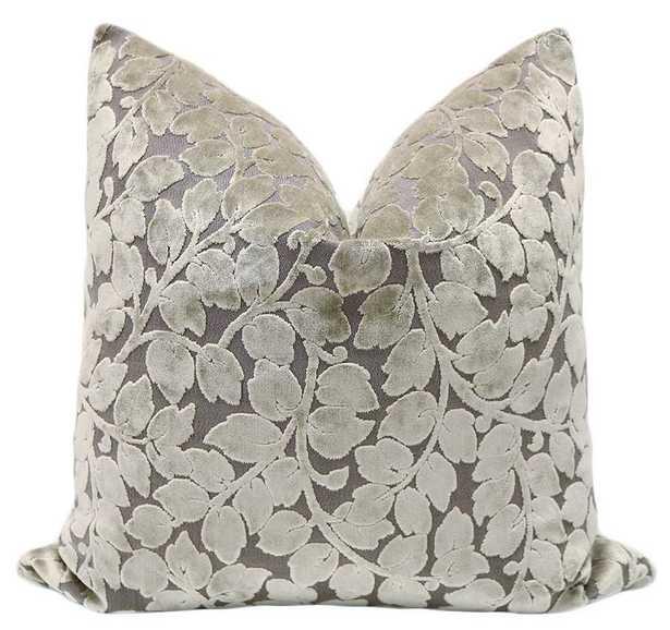 "Leaf Cut Velvet // Taupe - 22"" X 22"" Pillow Cover - Little Design Company"