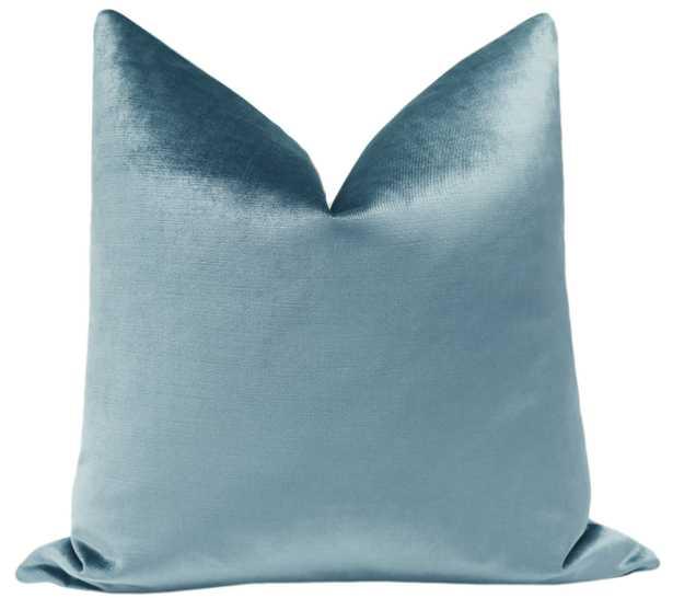"Faux Silk Velvet // Cerulean Blue - 22"" X 22"" - Little Design Company"
