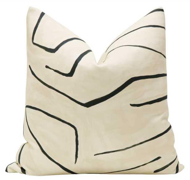 "Graffito Throw Pillow Cover, Linen & Onyx, 20"" x 20"" - Little Design Company"